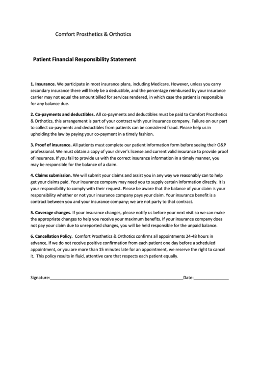 Patient Financial Responsibility Statement