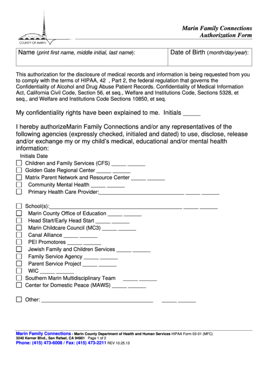 Release Of Information Marin Health And Human Services Printable pdf