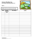 Summer Reading Log For Students Entering Grades 1 & 2