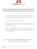 Procedure For Applying For Authorization To Mail
