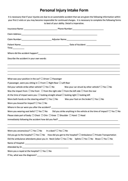 personal injury intake form printable pdf download