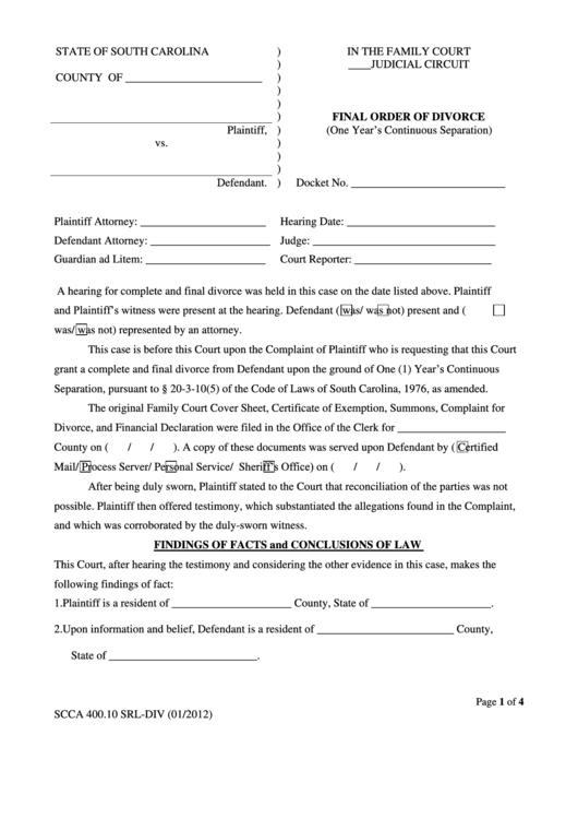 Final Order Of Divorce Form