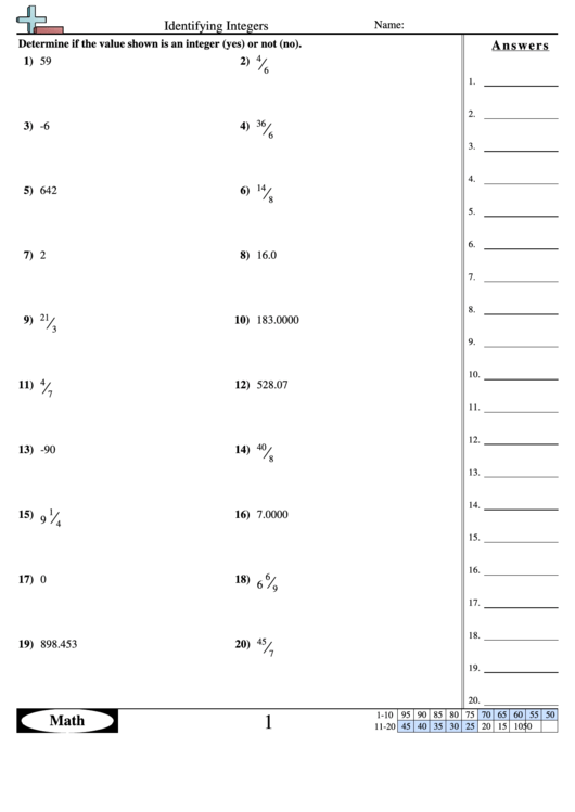 Identifying Integers Worksheet With Answer Key printable ...