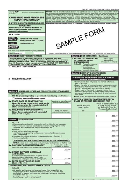 Sample Form Construction Progress Reporting Survey