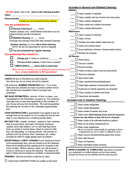 Cleaning Checklist Printable Pdf Download