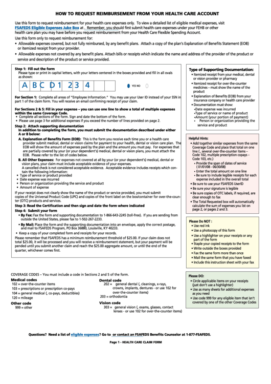 Fsafeds Health Care Fsa Claim Form printable pdf download