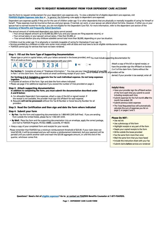 Fsafeds Dependent Care Fsa Claim Form printable pdf download