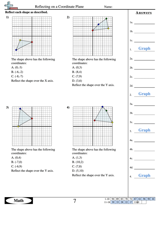 Reflecting On A Coordinate Plane Worksheet Printable Pdf Download