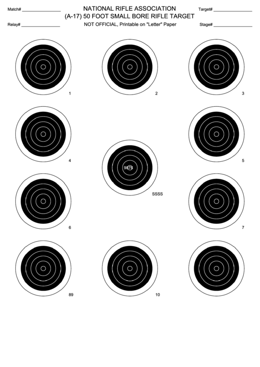 (A-17) 50 Foot Small Bore Rifle Target Template printable ...