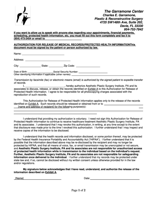 Asps Authorization To Release Medical Records Printable pdf