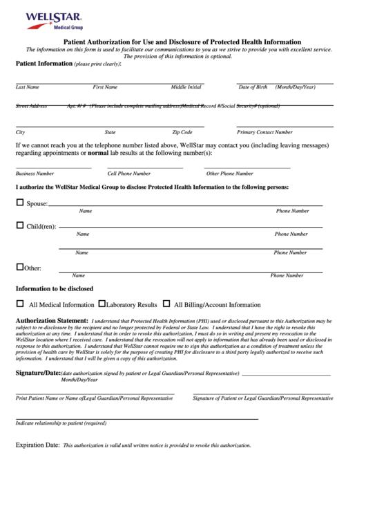 Hipaa Consent Forms - Wellstar Health System Printable pdf