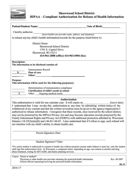Hipaa - Compliant Authorization For Release Of Health Information Form