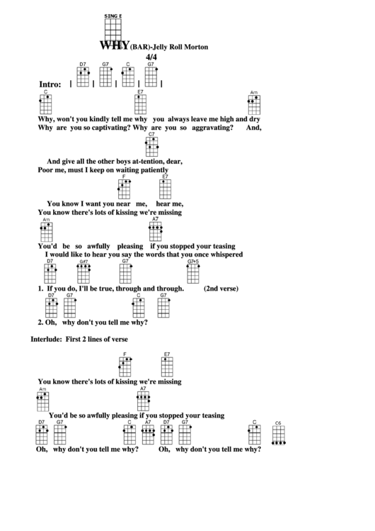 Chord Chart Jelly Roll Morton Whybar Printable Pdf Download