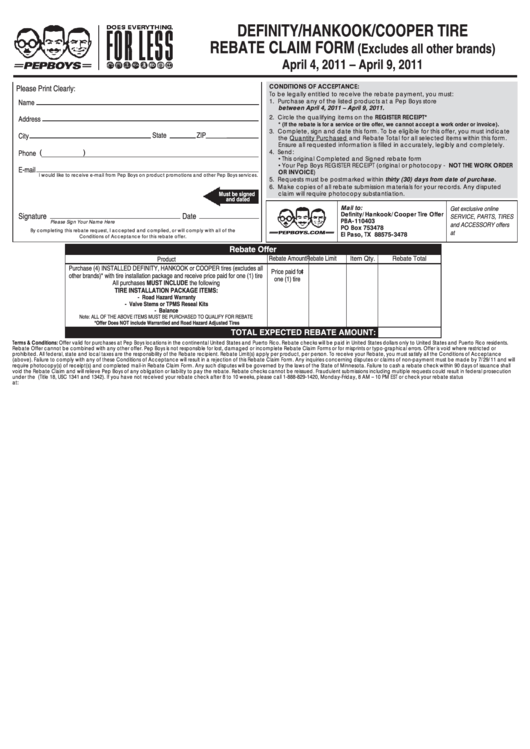 Top 5 Cooper Tire Rebate Form Templates free to download ...