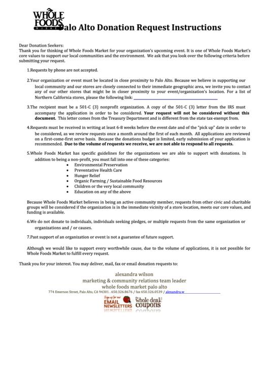 Whole Foods Market Berkeley Donation Request Form
