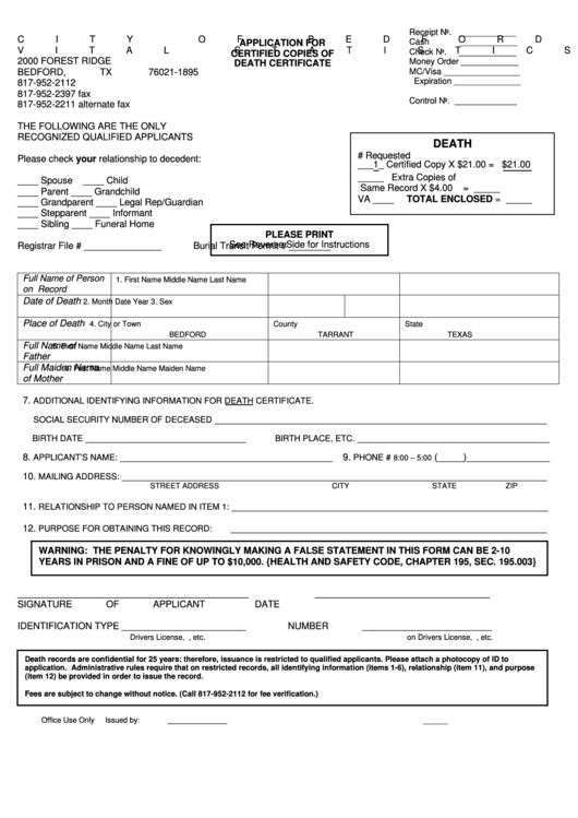 Top 7 texas death certificate form templates free to download in pdf application for copies of death certificate city of bedford yadclub Images