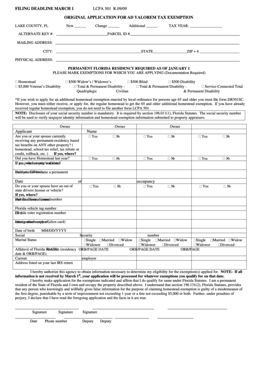 Original Application For Ad Valorem Tax Exemption Form