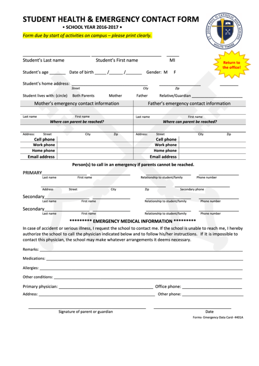 Student Health Emergency Contact Form
