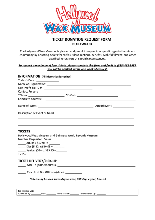 Ticket Donation Request Form - Guinness World Printable pdf