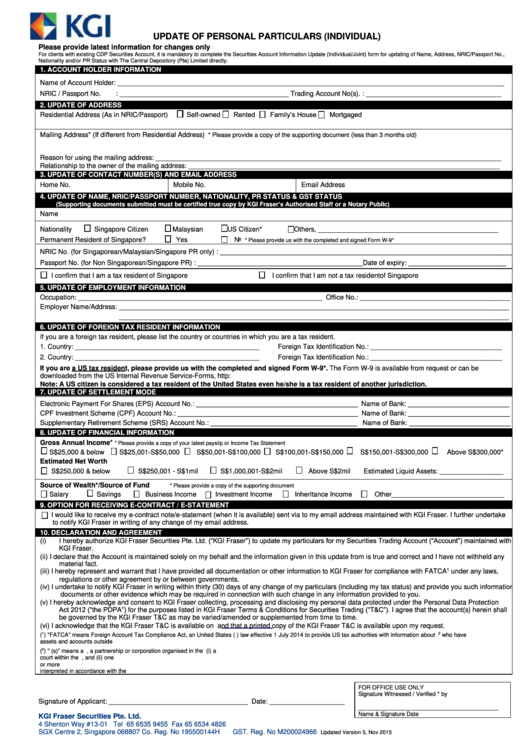 Update Of Personal Particulars Form (Individual) printable
