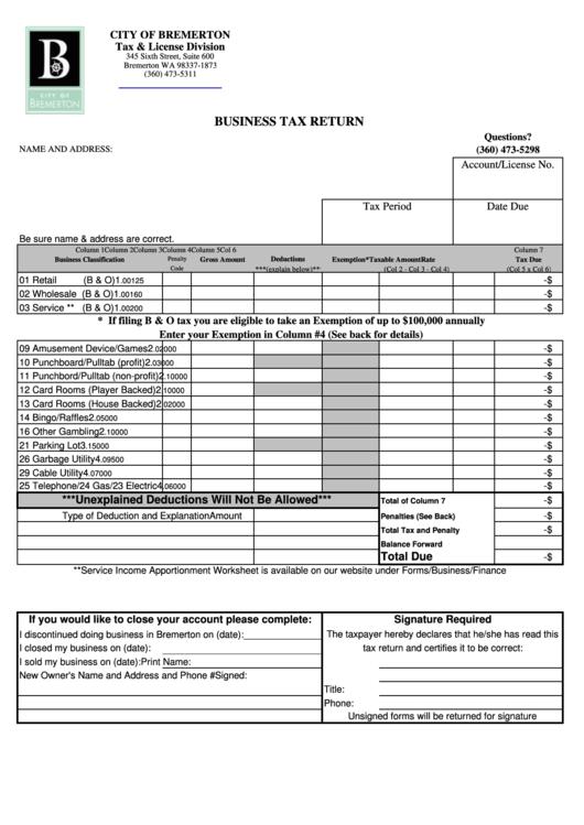 Business Tax Return Form Printable pdf