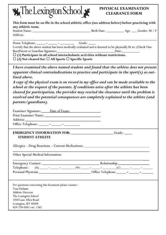 Physical Exam Clearance Form