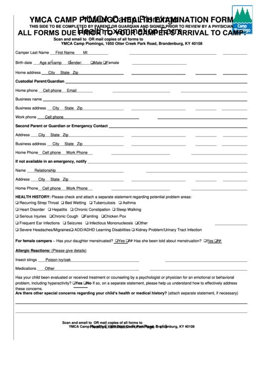 Ymca Camp Piomingo Health Examination Form