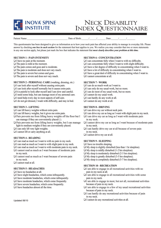 Fillable Neck Disability Index Questionnaire Template