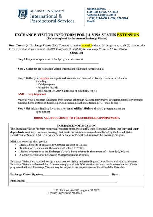 Exchange Visitor Info Form For J1 Visa Status Extension