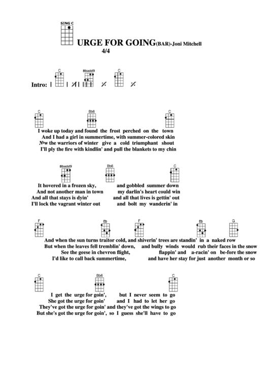 Chord Chart Joni Mitchell Urge For Going Bar Printable Pdf