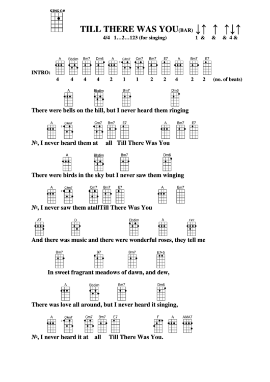 Till There Was You (Bar) Chord Chart printable pdf download
