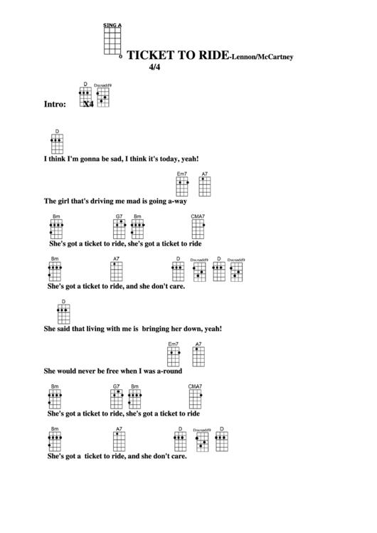 Ticket To Ride - Lennon/mccartney Chord Chart Printable pdf