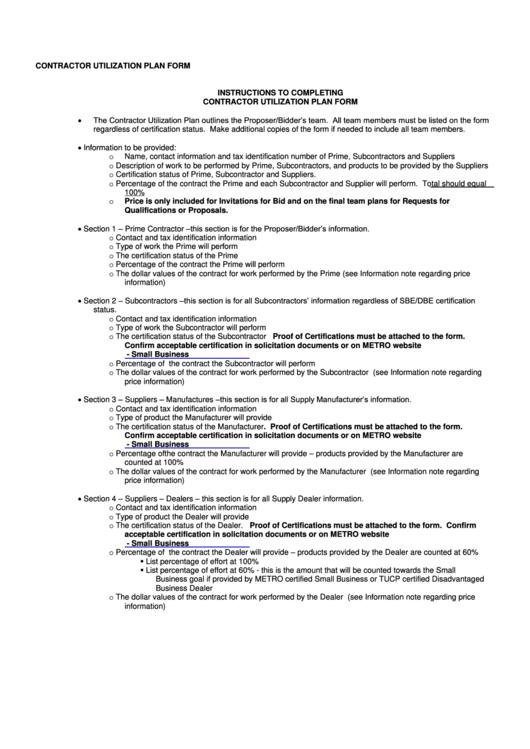 Contractor Utilization Plan Form