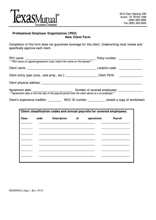 Professional Employer Organization New Client Form Printable pdf