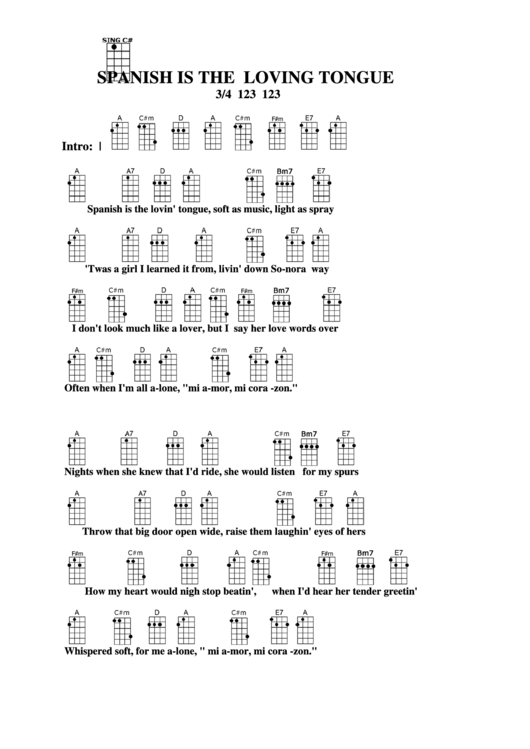 Spanish Is The Loving Tongue Chord Chart printable pdf