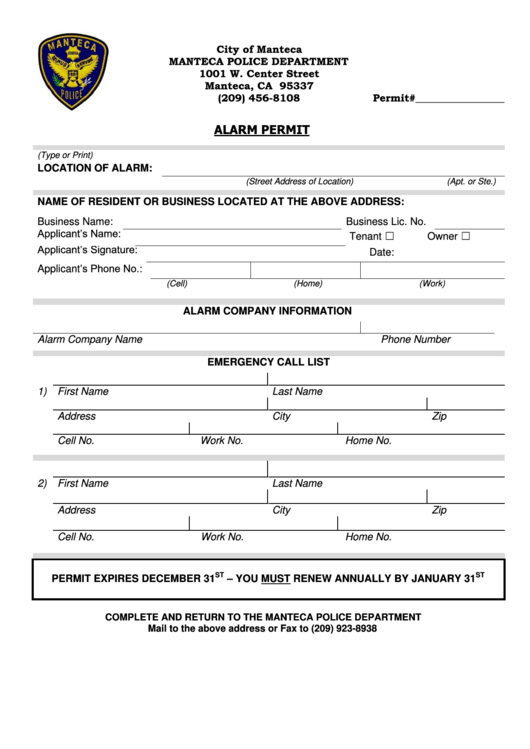 fillable alarm permit form