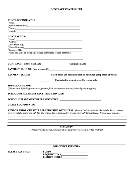 11 Contract Cover Sheets Free To Download In Pdf