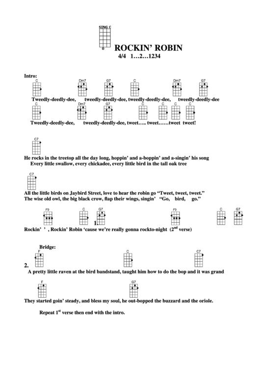 Rockin Robin Chord Chart Printable Pdf Download