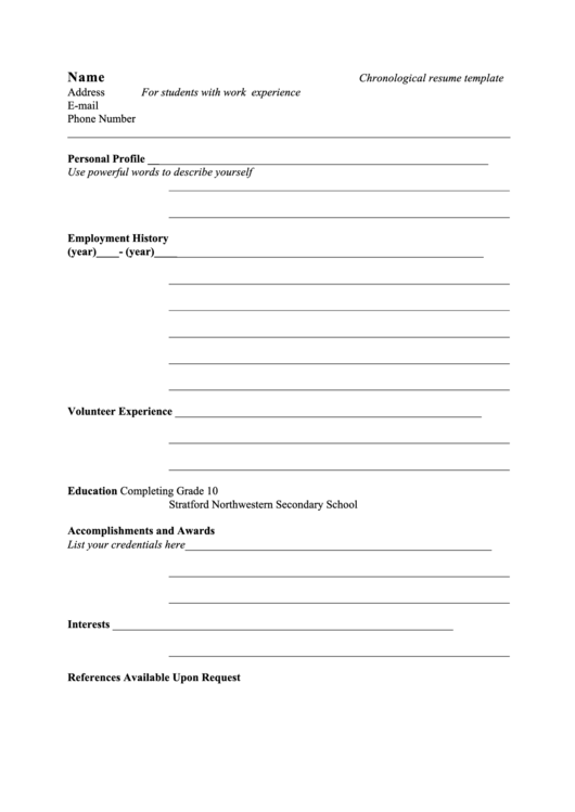 Chronological Resume Template For Students With Work Experience Printable pdf