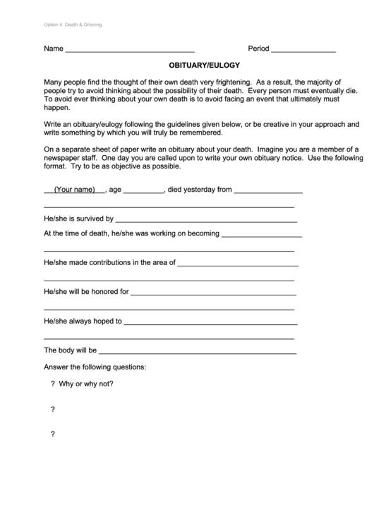 Obituary Eulogy Worksheet Template