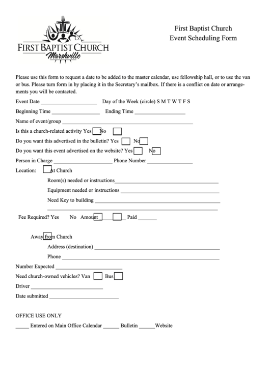 First Baptist Church Event Scheduling Form