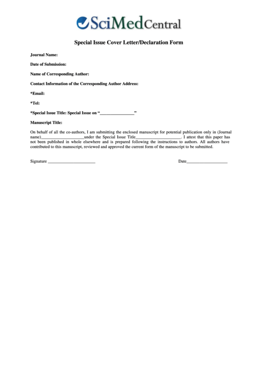 Special Issue Cover Letter/declaration Form Printable pdf
