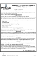 Additional Contractor Liability Proposal Form