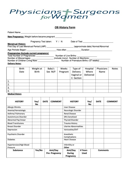 ob  obstetrical  history form printable pdf download