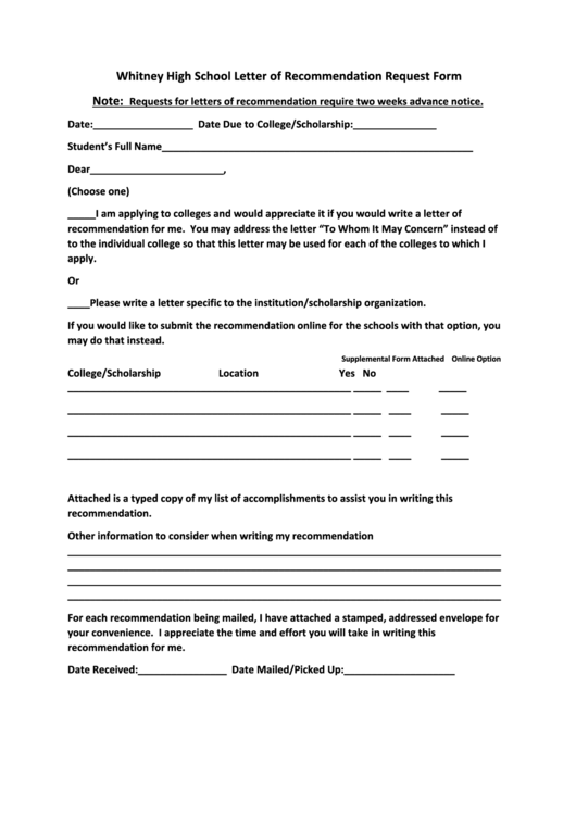letter of recommendation request form