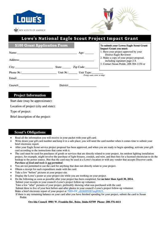 lowes grant application form printable pdf download