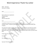 Work Experience Thank-you Letter Template