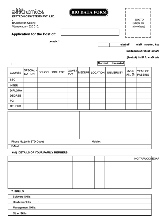 Bio Data Form Printable pdf