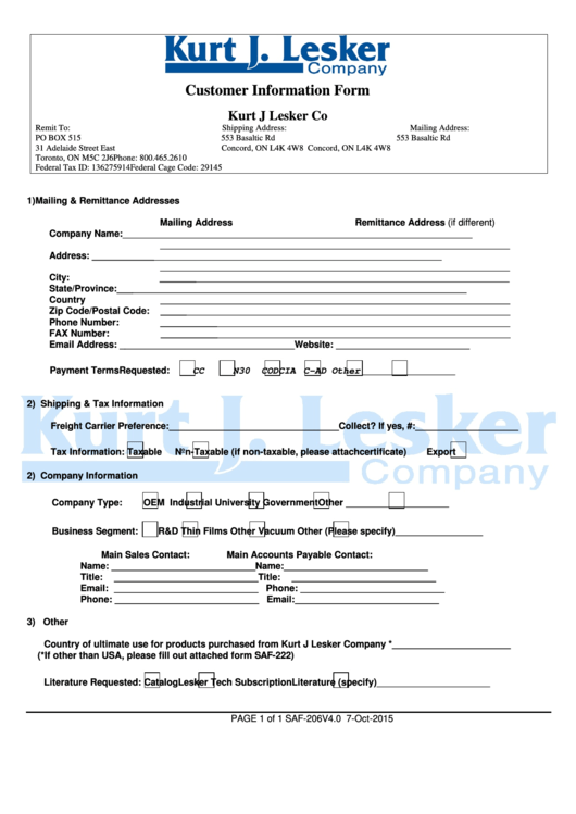 Customer Information Form Kurt J Lesker Company