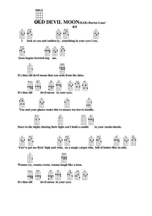 Old Devil Moon Bar Burton Laneey Harburg Chord Chart